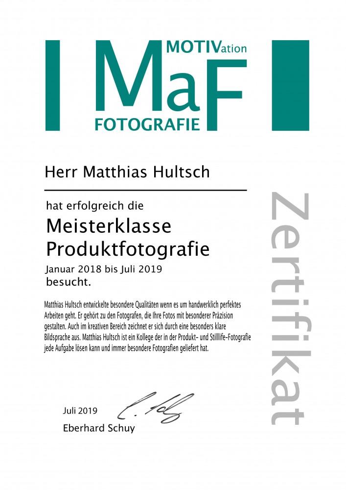 Zertifikat Meisterklasse Produktfotografie